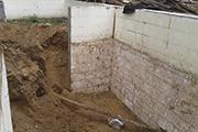 Работы по возведению стен в подвале, сентябрь 2014г.