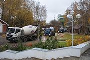 Приехали миксеры с бетоном, октябрь 2014г.