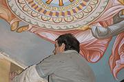 Разметка орнамента центральной части росписи